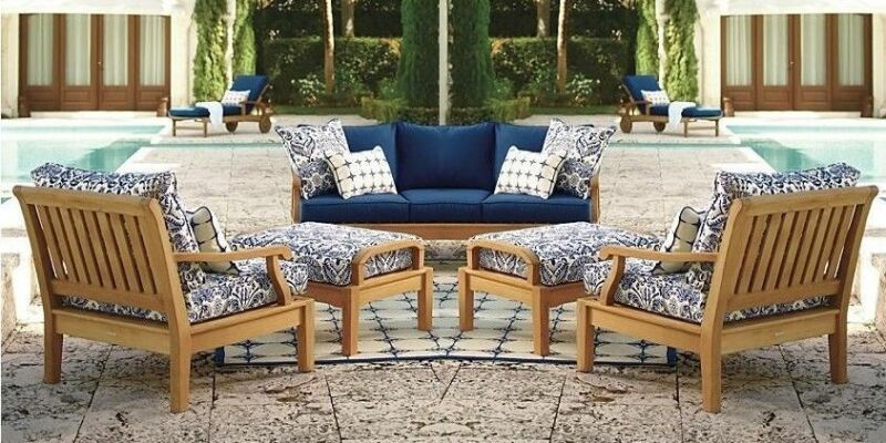 6 Pc Teak Sofa Set Garden Outdoor Patio Furniture Pool Deck - Sack Lounging Set