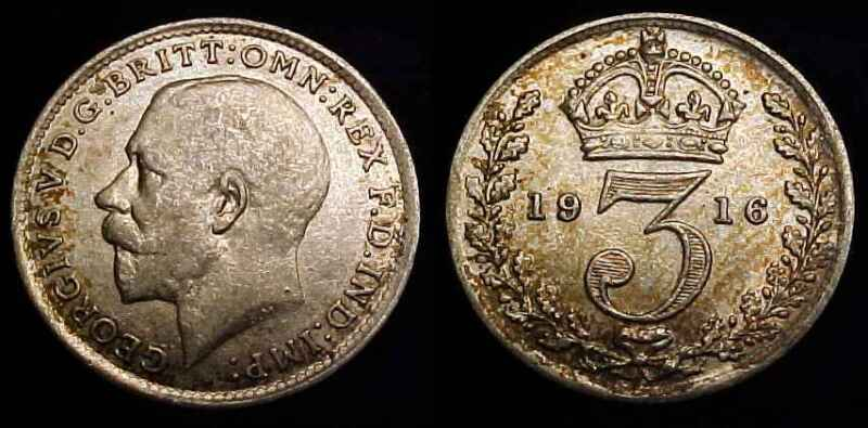 GREAT BRITAIN 1916 Silver Threepence XF+