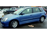 HONDA CIVIC CDTi 2005 1.7 DIESEL 100,000 MILES MANUAL 5 DOOR HATCHBACK BLUE