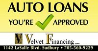 Auto Loans!  You're Approved with Velvet Financing!
