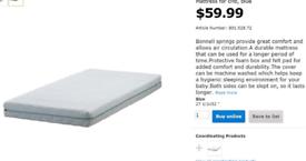 Brand new Ikea toddler bed MATRESS VYSSA