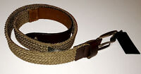New Fred Perry Webbing belt beige brown leather Made In England
