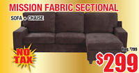 Mission Fabric Sectional Sofa, $299 Tax Included!