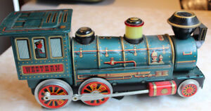 Old Battery Operated Toy Western Train Vintage Tin Antique
