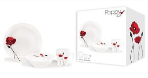 Earthenware 12 Piece Dinner Set Red Poppy 4x Plates,Bowls & Mugs Dishwasher Safe