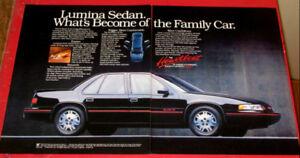 BLACK 1990 CHEVY LUMINA EURO RETRO CAR AD - ANONCE PUBLCITE 90S