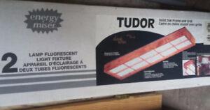 New, Solid Oak Fluorescent Flush Mount Ceiling Light
