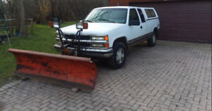 Pickup truck with plow