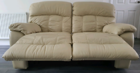 Cream Leather Sofa 2 Seater - Recliner