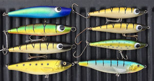 8 Large Muskie Fishing Lures Topwater Jerk Baits sell/trade