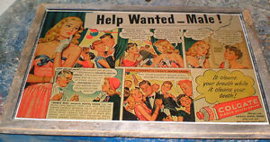 7 Vintage Advertisements - mounted, ready to display