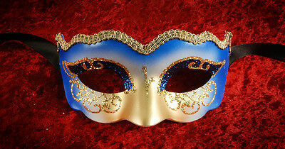 Mask from Venice Colombine Nuvola Blue Golden Authentic 900 CA2C