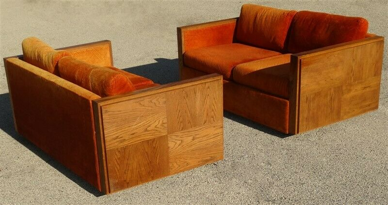 Pair Mid Century Danish Modern Lane [?] Brutalist Orange Love Seats
