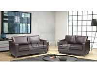 BRAND NEW HIGH QUALITY LEATHER 3 AND 2 SEATER SOFA SUITE IN BLACK or BROWN, SINGLE ARM CHAIR SET