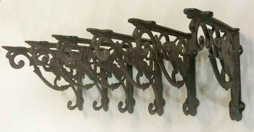SET OF 6 CHERUB ANGEL BRACE SHELF BRACKETS antique brown patina finish cast iron
