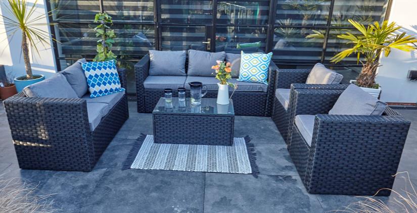 Garden Furniture - Yakoe 7 seater rattan garden conservatory furniture sofa set black+ rain cover