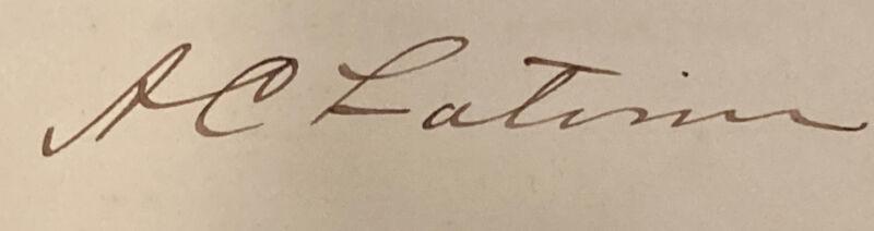 1904 Letterhead US Senator Asbury Churchwell Latimer Belton South Carolina