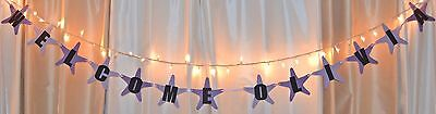 purple, lavender starfish baby shower its a girl custom hanging name banner
