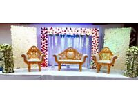Wedding stage hire, mehendi stages, chair covers, house