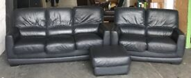 Thick Leather Black/Dark Blue Leather Sofa Set. CAN DELIVER