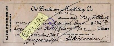 1909 BEAUMONT TEXAS Bank Check OIL & GAS PRODUCER C. A. Richardson SPINDLETOP