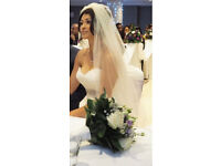 "WEDDING VEIL single tier 100"" scatter crystal veil"