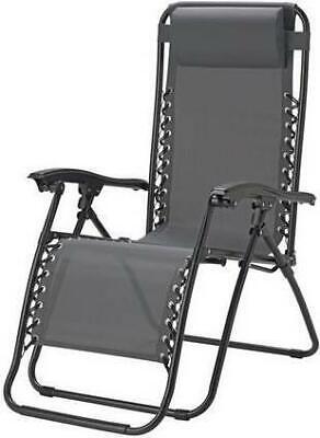 Sun Lounger Grey Sunbed Folding Recliner Chair Garden Patio Furniture Zero