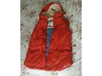 Ladies size 10 gillet Weird Fish body warmer red with fur lined hood