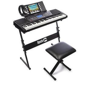 NEW* ROCKJAM DIGITAL PIANO SUPERKIT - 120721875 - 61 KEY KEYBOARD WITH STAND STOOL HEADPHONES