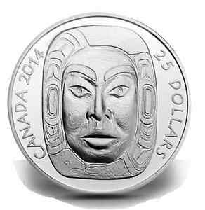 2014 Matriarch Moon Mask $25 Silver Coin Ultra High Relief