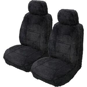 Silver Cloud Sheepskin Seat Covers Black Adjustable