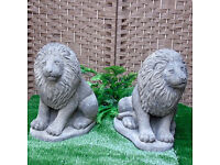 Pair of Stone Lions in Reconstituted Limestone