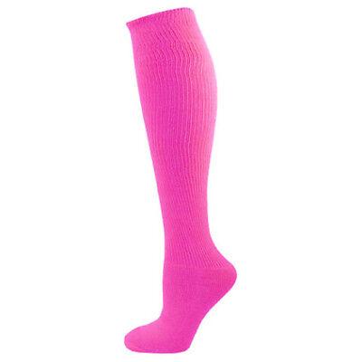 Neon Solid Knee High Socks - Neon Pink