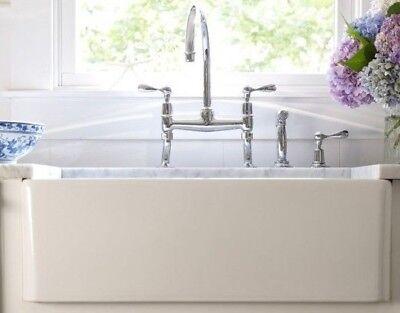 (30 inch Apron Farmhouse Fireclay Kitchen Plain single Bowl Sink White RI#89)