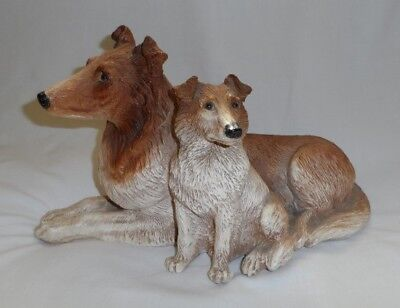 Heavyweight Collie Mother Dog and Attached Puppy Figurine