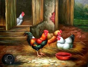Original oil painting on canvas: Chickens in the Barnyard NEW