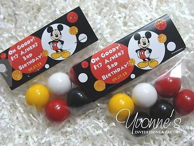 Mickey Mouse Birthday Party Treat Goody Bags - Topper & Cello Bag - Set of 12 - Mickey Treat Bags