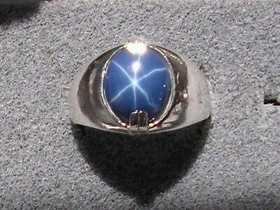 Mens 12X10mm 5  Ct Linde Lindy Crnflr Blue Star Sapphire Created Second Ring Ss