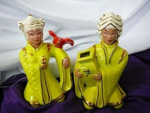 Two Miramar of California Rare Chartreuse Figurines