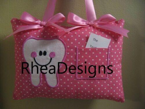 tooth fairy pillow Girls pink dots.