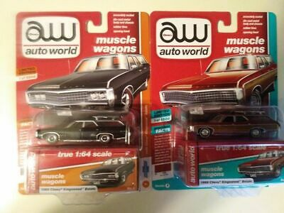 Auto World Muscle Wagons 1969 Chevy Kingswood Estate Flat Black & Garnet Red Lot
