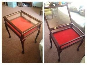 brand new display table curio cabinet with glass lift top