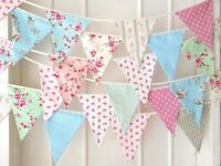 Fabric Wedding Bunting made and hire