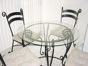 Pier 1 Glass and Wrought iron table and chair