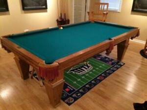 8 BRUNSWICK SLATE POOL TABLE INSTALLED WITH ACCESSORIES