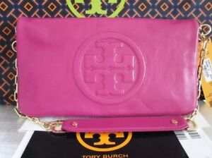 NWT Tory Burch Classic PINK Leather BOMBE Reva Shoulder Bag/Clutch