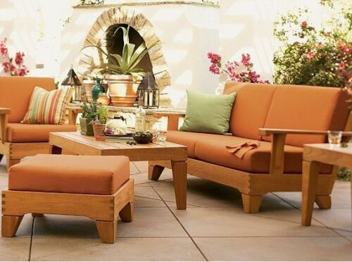 6 PC TEAK WOOD GARDEN OUTDOOR PATIO SOFA SET BRAND POOL CARANAS DECK COLLECTION