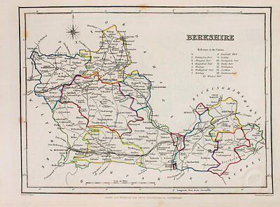 Berkshire County Hand Coloured Map, Antique Map c. 1848 by Samuel Lewis