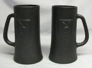 Two VINTAGE PLAYBOY 1960s Black Frosted Matte Glasses