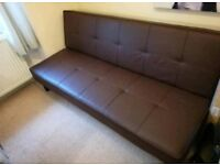 Futon Style Faux Brown Leather Sofa Bed